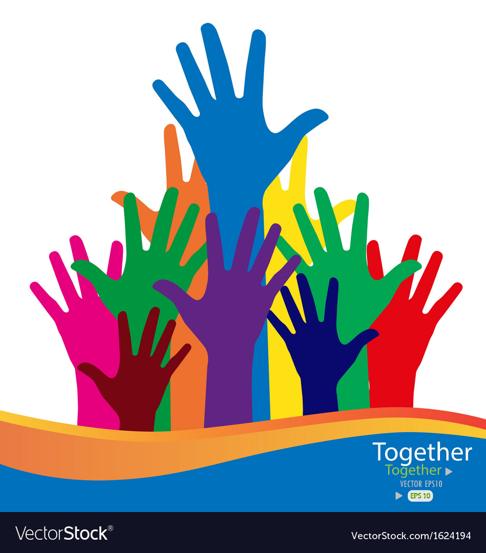 Colorful raised hands vector   Price: 1 Credit (USD $1)