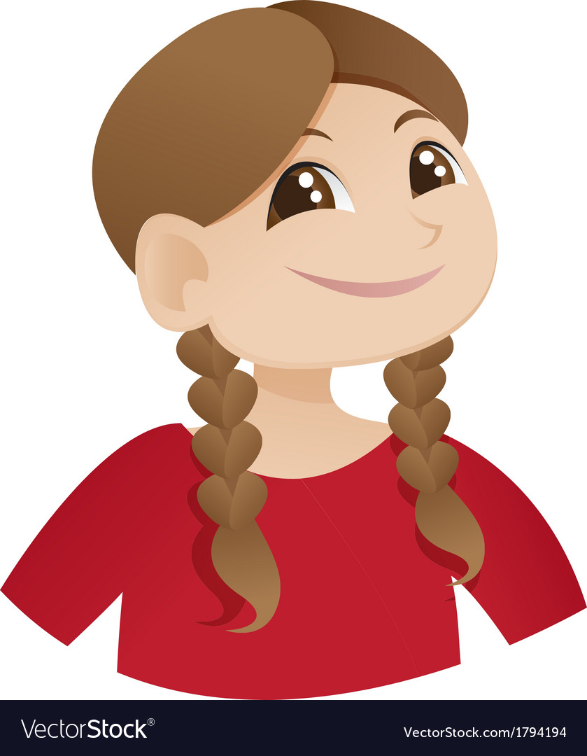 Cute smiling girl with ponytail vector | Price: 1 Credit (USD $1)