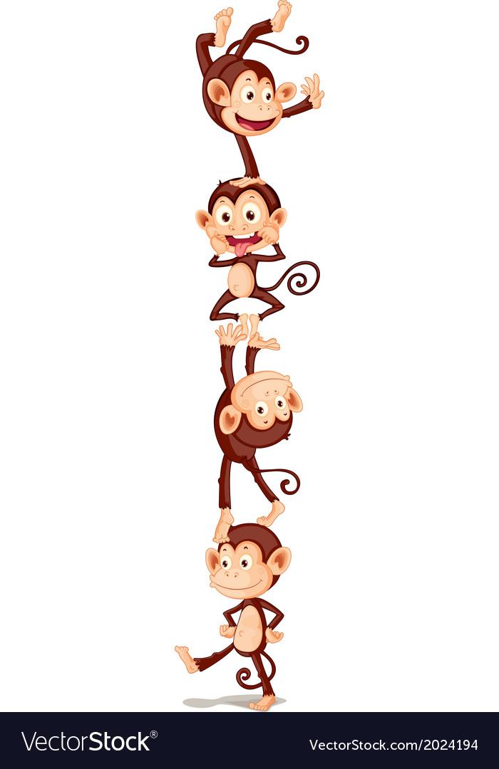 Four playful monkeys vector | Price: 1 Credit (USD $1)