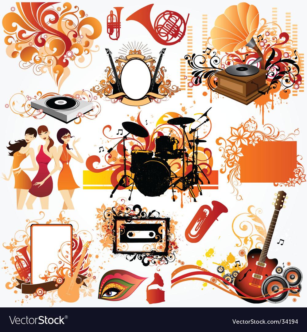 Music design element set vector | Price: 5 Credit (USD $5)