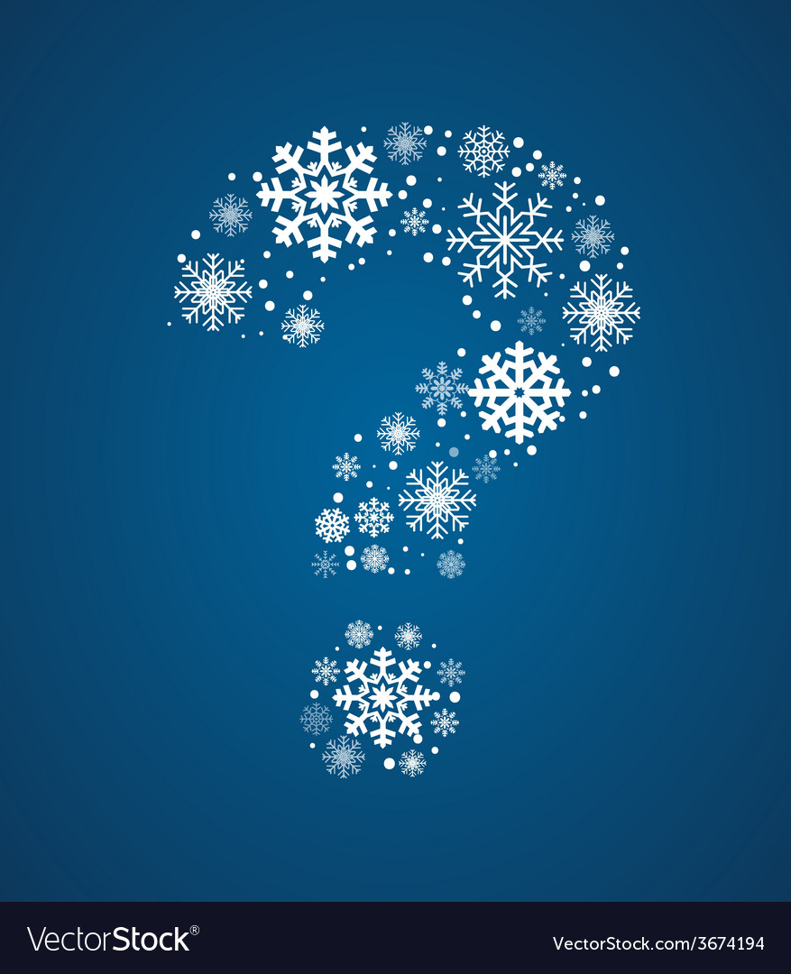 Question mark font frosty snowflakes vector | Price: 1 Credit (USD $1)