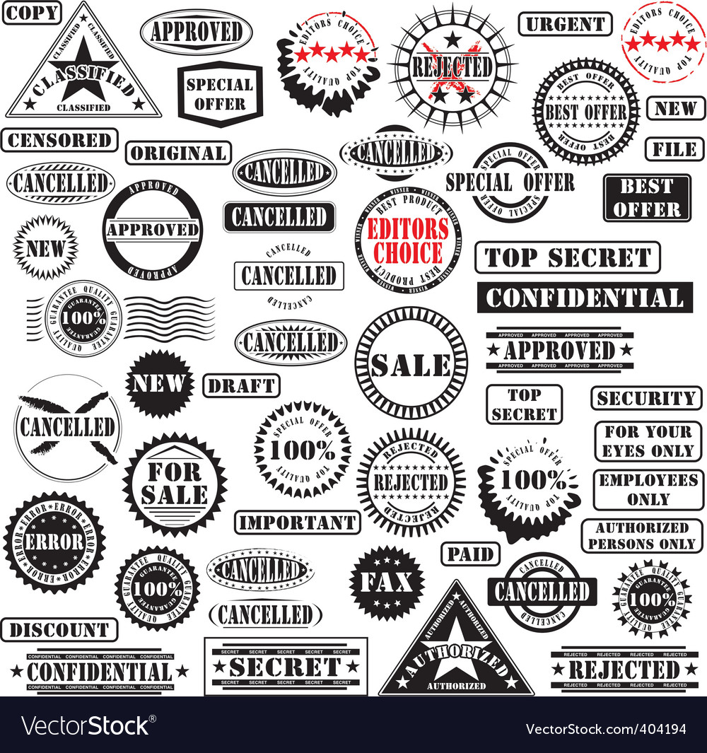 Rubber stamps collection vector