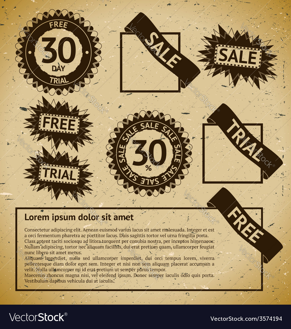 Sale vintage stamp labels vector | Price: 1 Credit (USD $1)