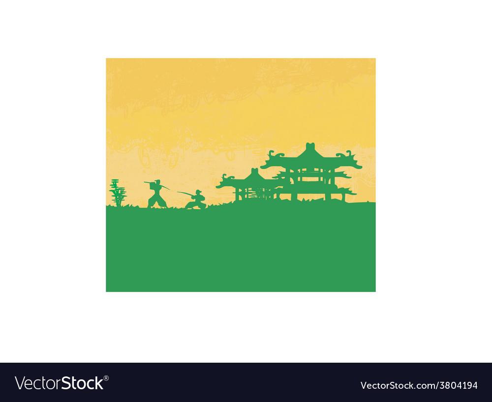 Samurai silhouette in asian landscape vector | Price: 1 Credit (USD $1)