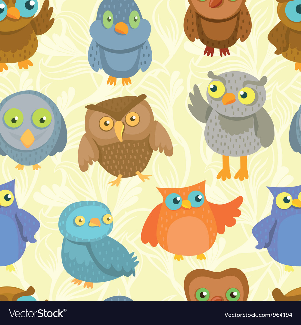 Seamless pattern with cute bright owls vector | Price: 1 Credit (USD $1)