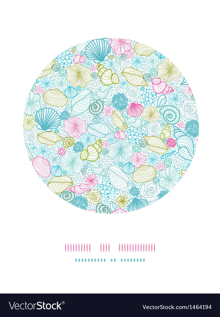 Seashells line art circle decor pattern background vector | Price: 1 Credit (USD $1)
