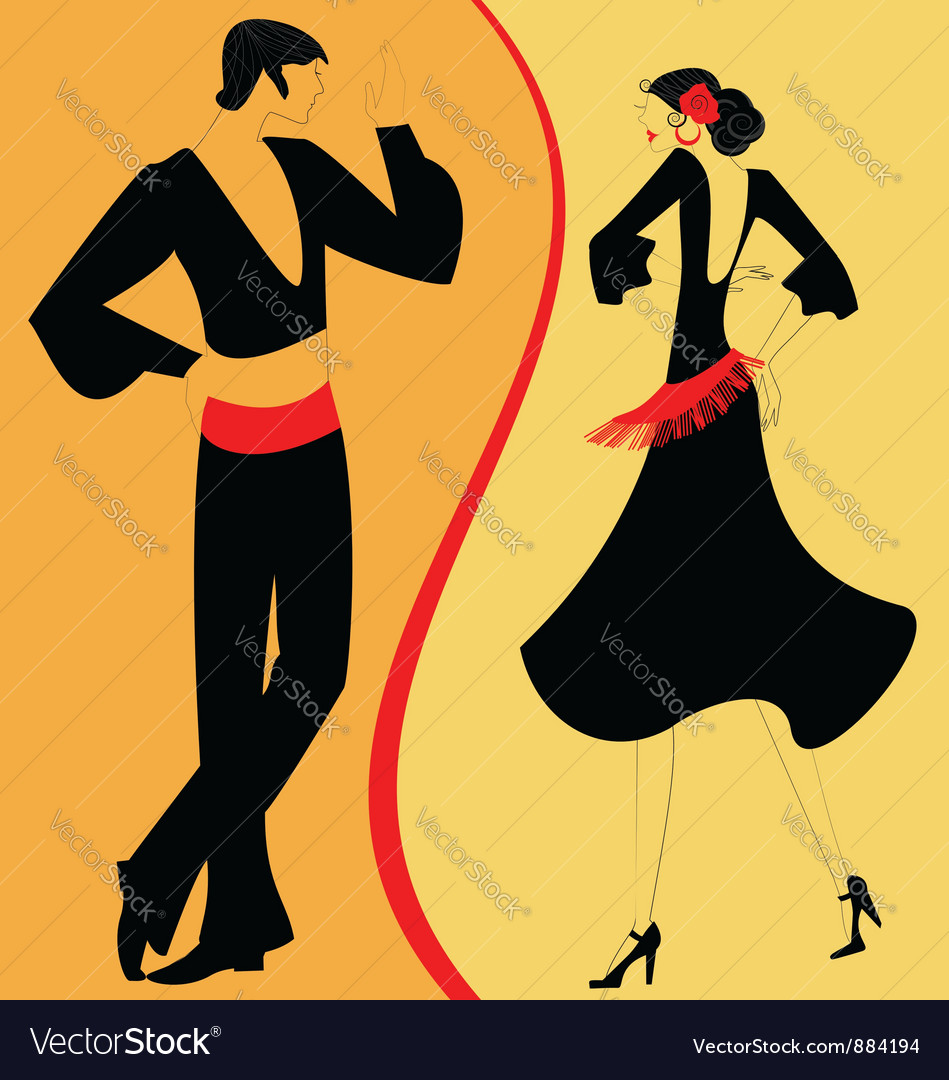 Silhouette couple of flamenco dancer vector | Price: 1 Credit (USD $1)