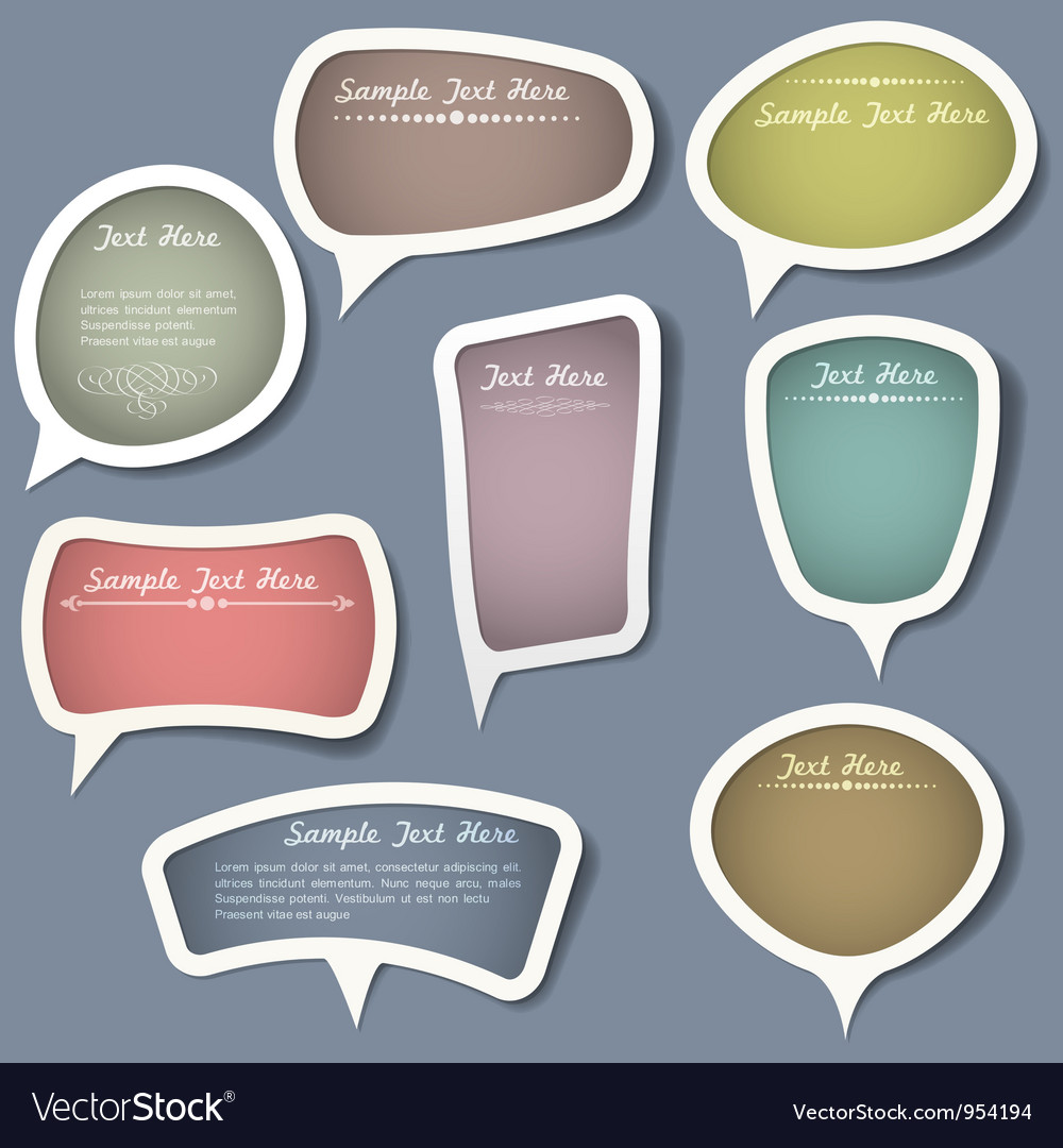 Speech bubbles with calligraphic elements vector | Price: 1 Credit (USD $1)