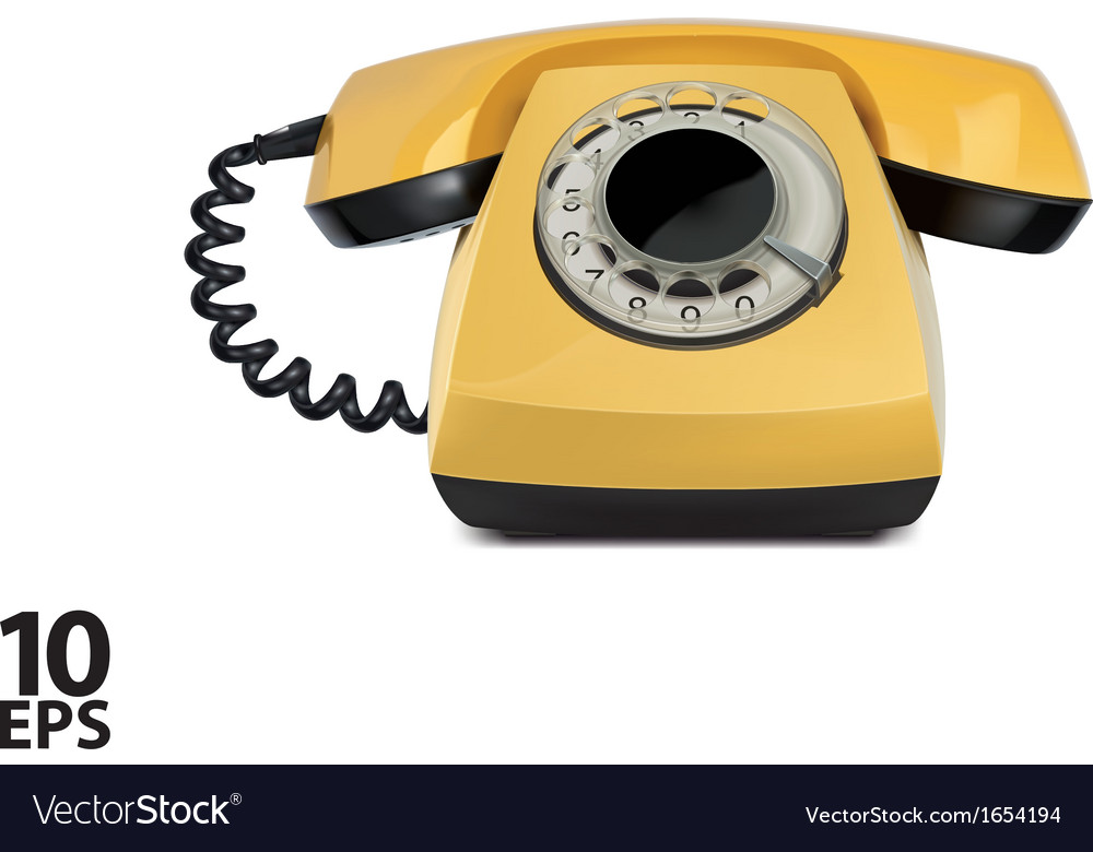 Telephone yellow vintage isolated vector | Price: 1 Credit (USD $1)