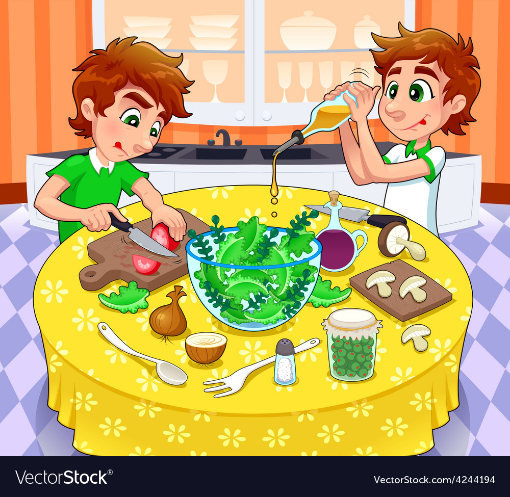 Twins are preparing a green salad vector | Price: 3 Credit (USD $3)