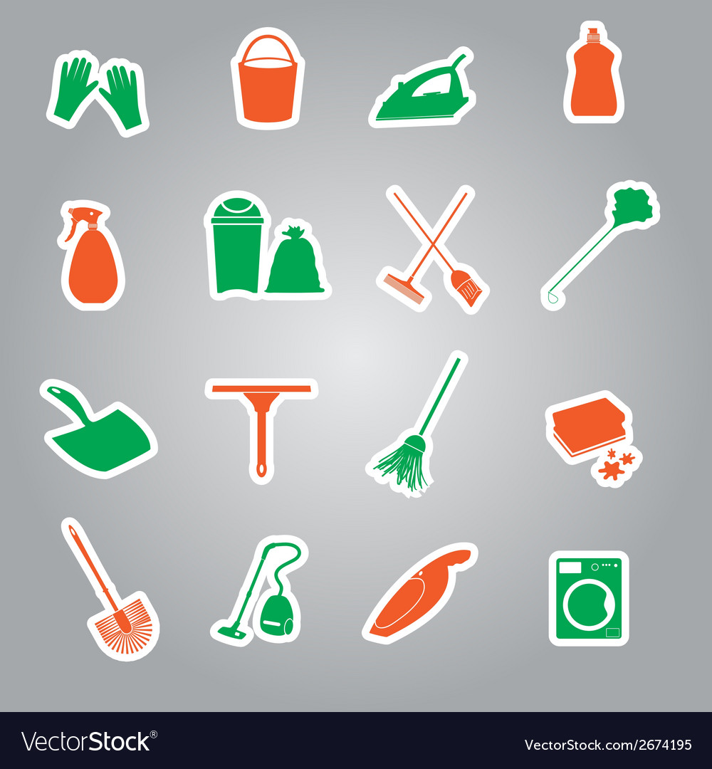 Cleaning stickers set eps10 vector | Price: 1 Credit (USD $1)