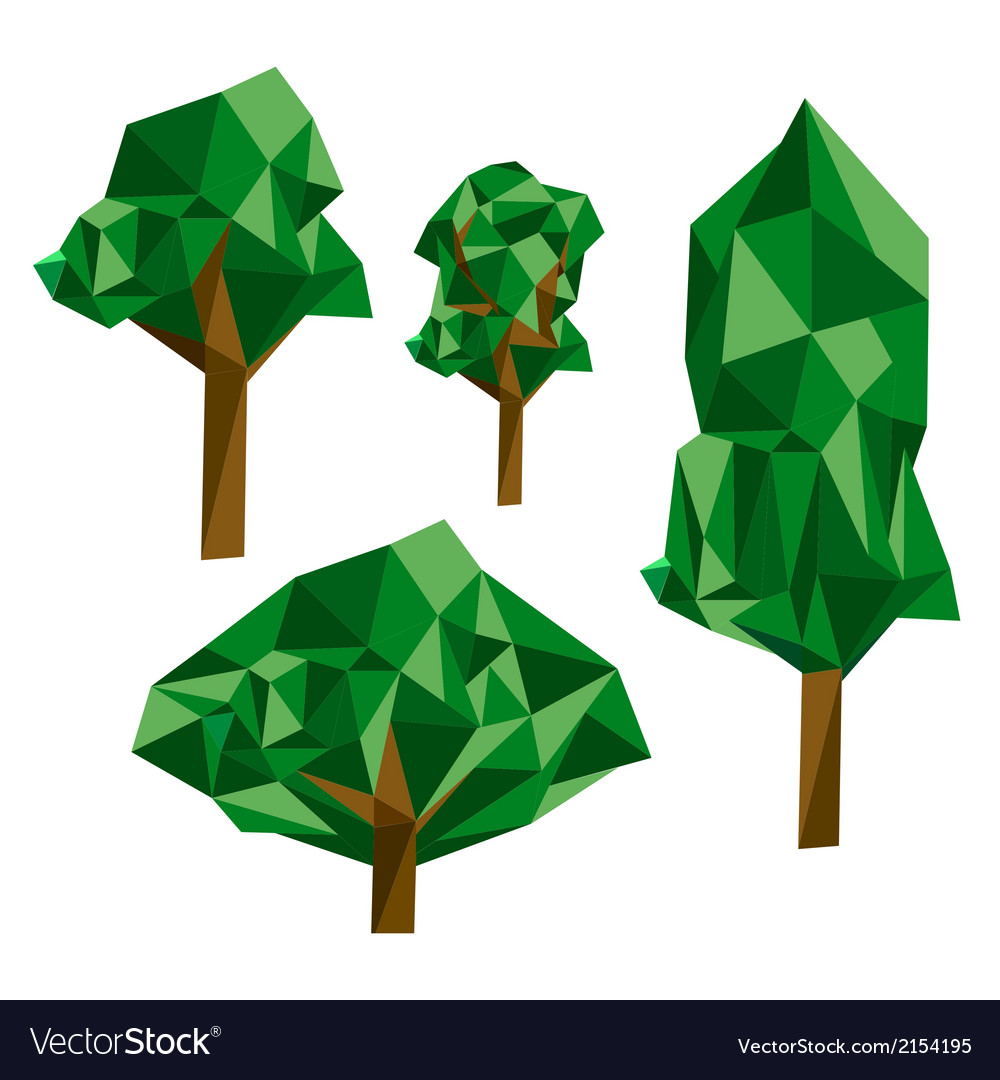 Collection of different origami trees vector | Price: 1 Credit (USD $1)
