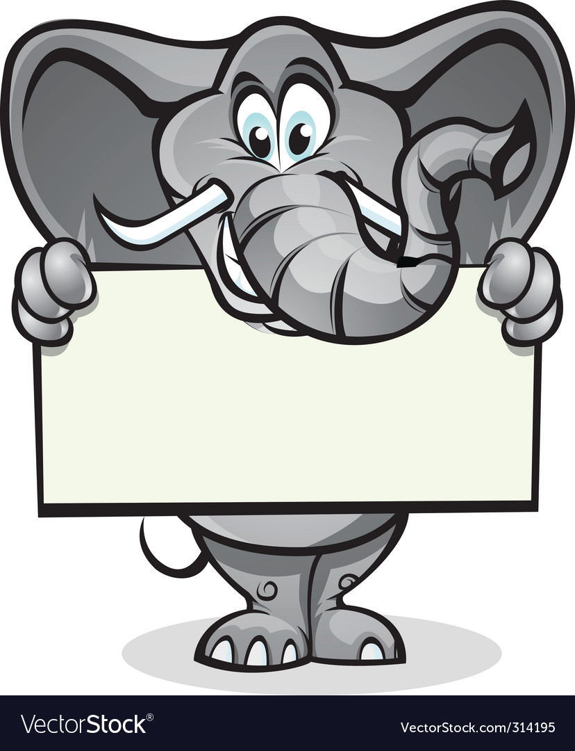 Cute elephant holding sign vector | Price: 3 Credit (USD $3)