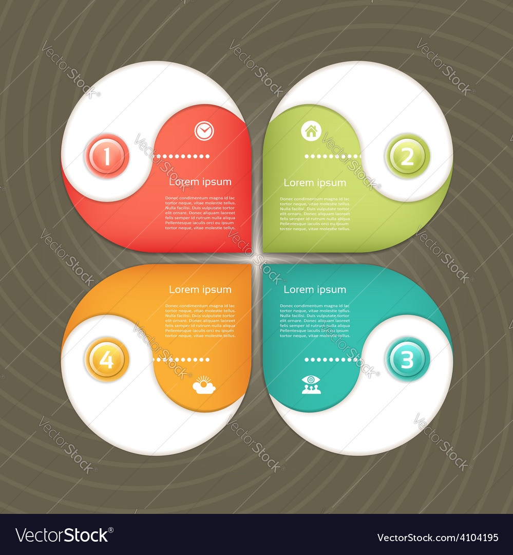 Cyclic diagram with four steps and icons eps 10 vector | Price: 1 Credit (USD $1)