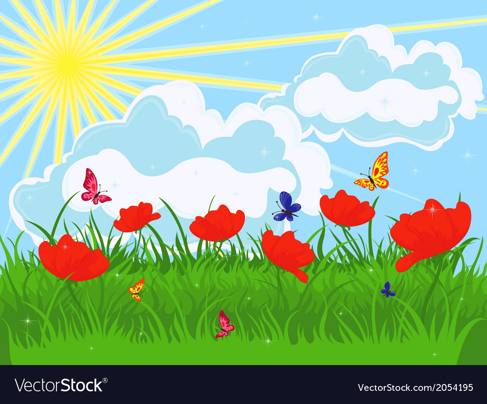 Meadow in early summer vector | Price: 1 Credit (USD $1)