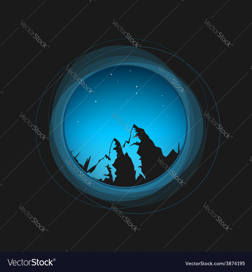 Night sky the stars and the mountains vector | Price: 1 Credit (USD $1)