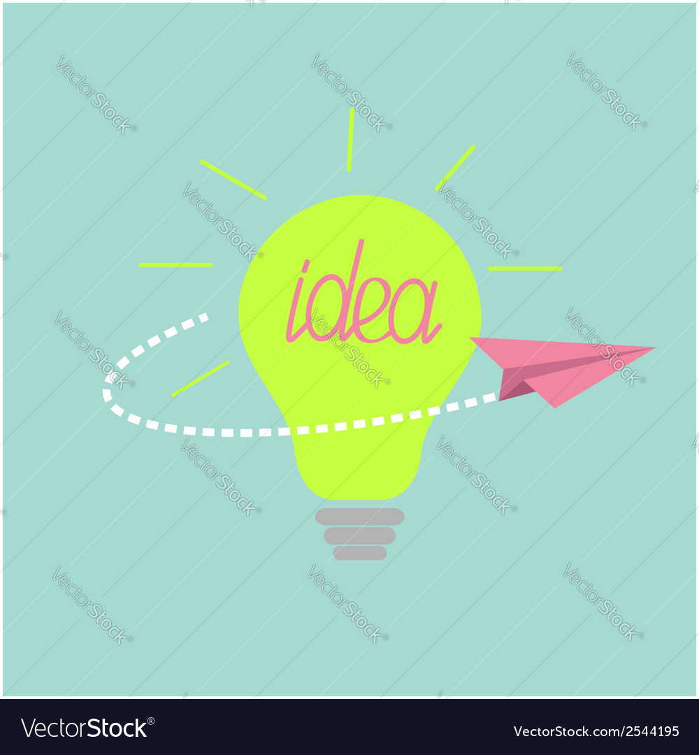 Origami paper plane flying around the idea light vector | Price: 1 Credit (USD $1)