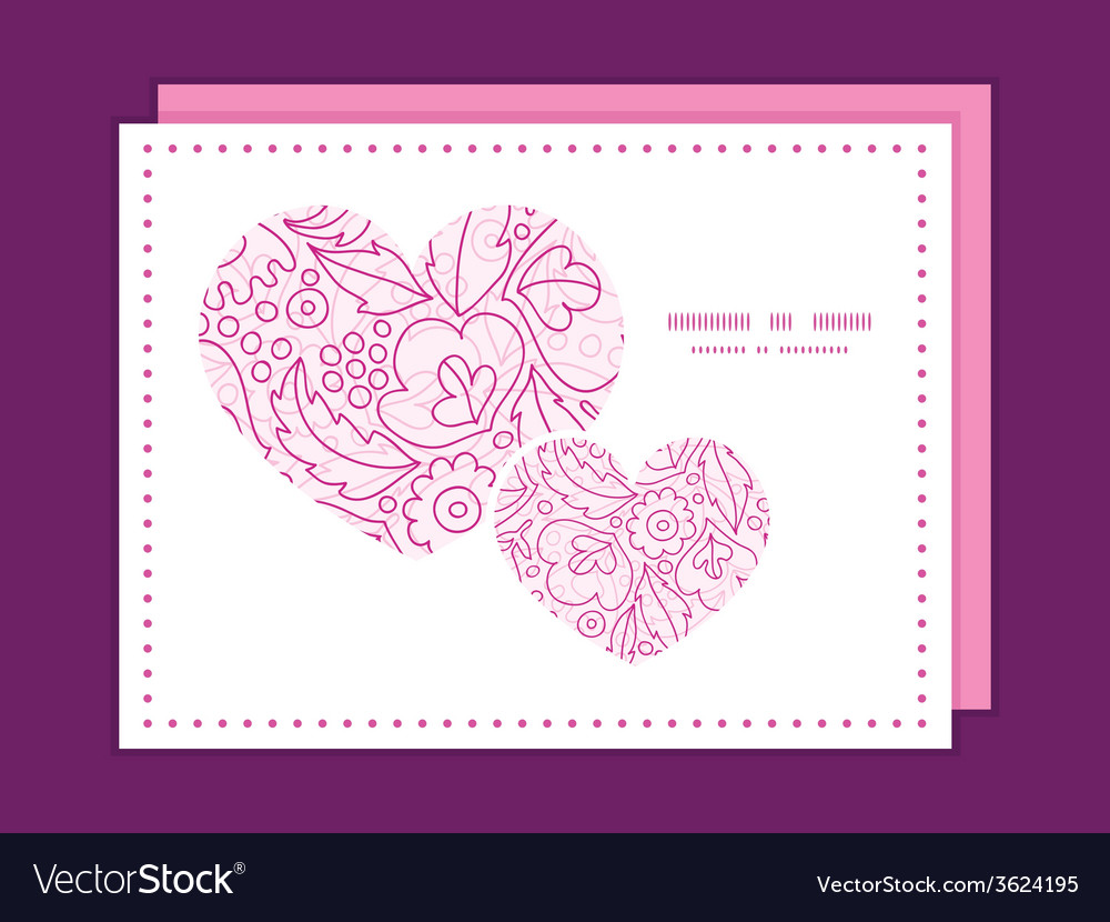 Pink flowers lineart heart symbol frame pattern vector | Price: 1 Credit (USD $1)