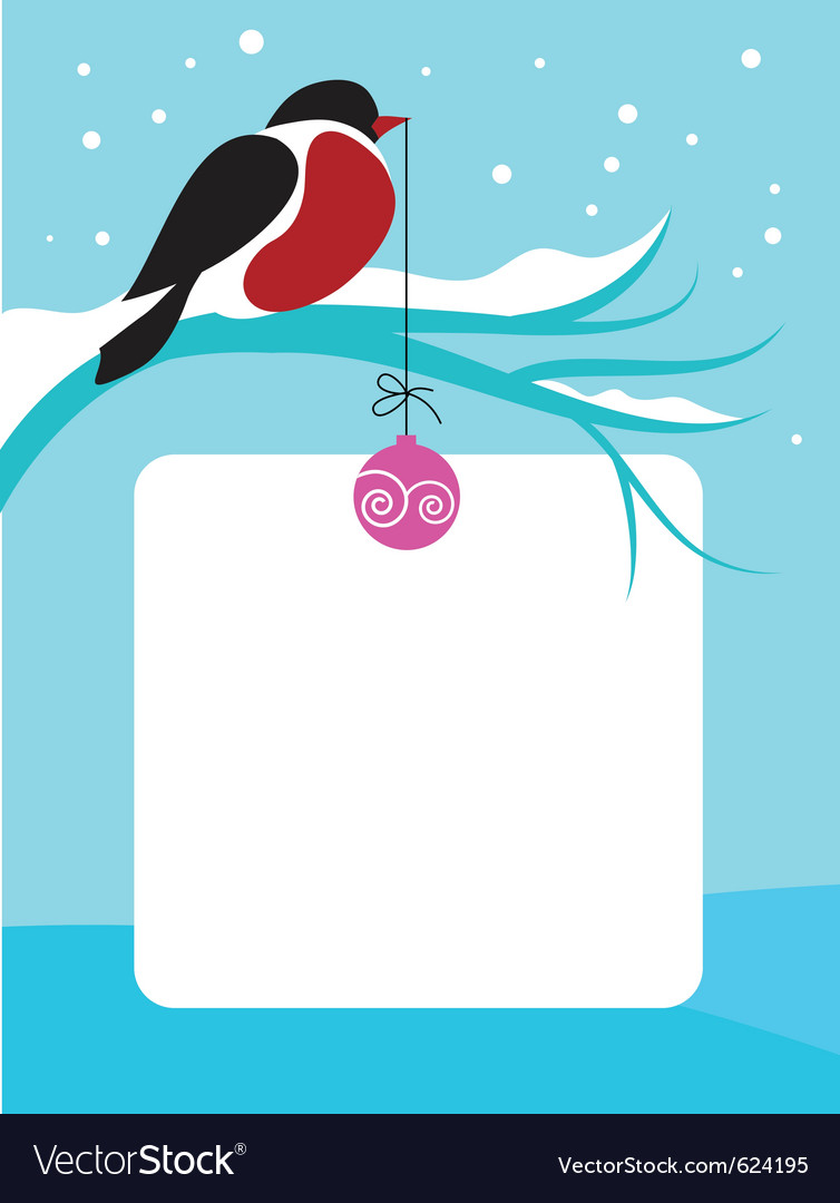 Red chect bird on branch with snow vector | Price: 1 Credit (USD $1)