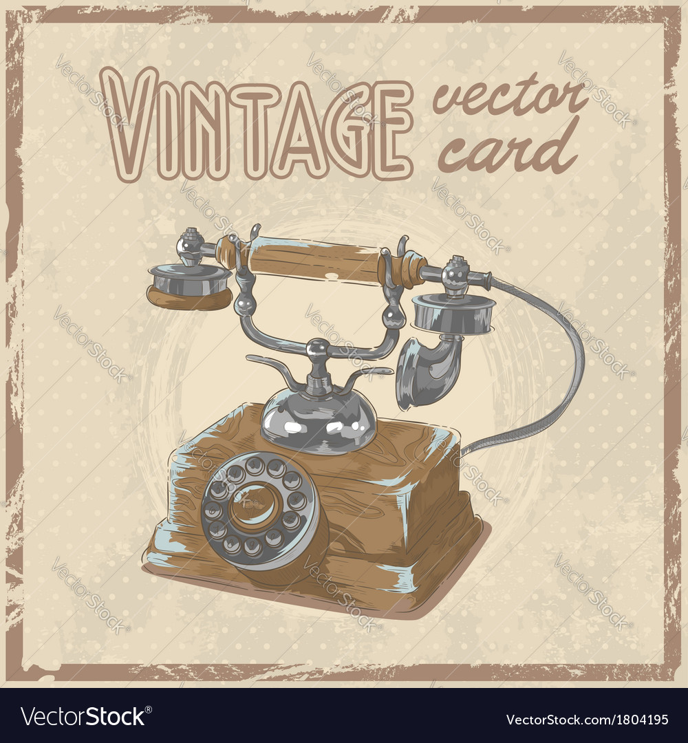 Retro 50s phone stylish vintage postcard vector | Price: 1 Credit (USD $1)