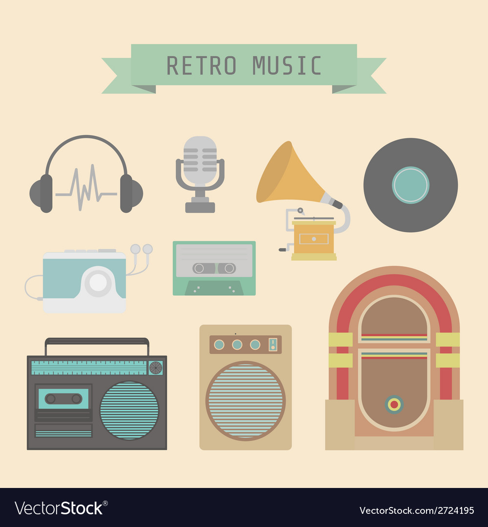 Retromusicset vector | Price: 1 Credit (USD $1)