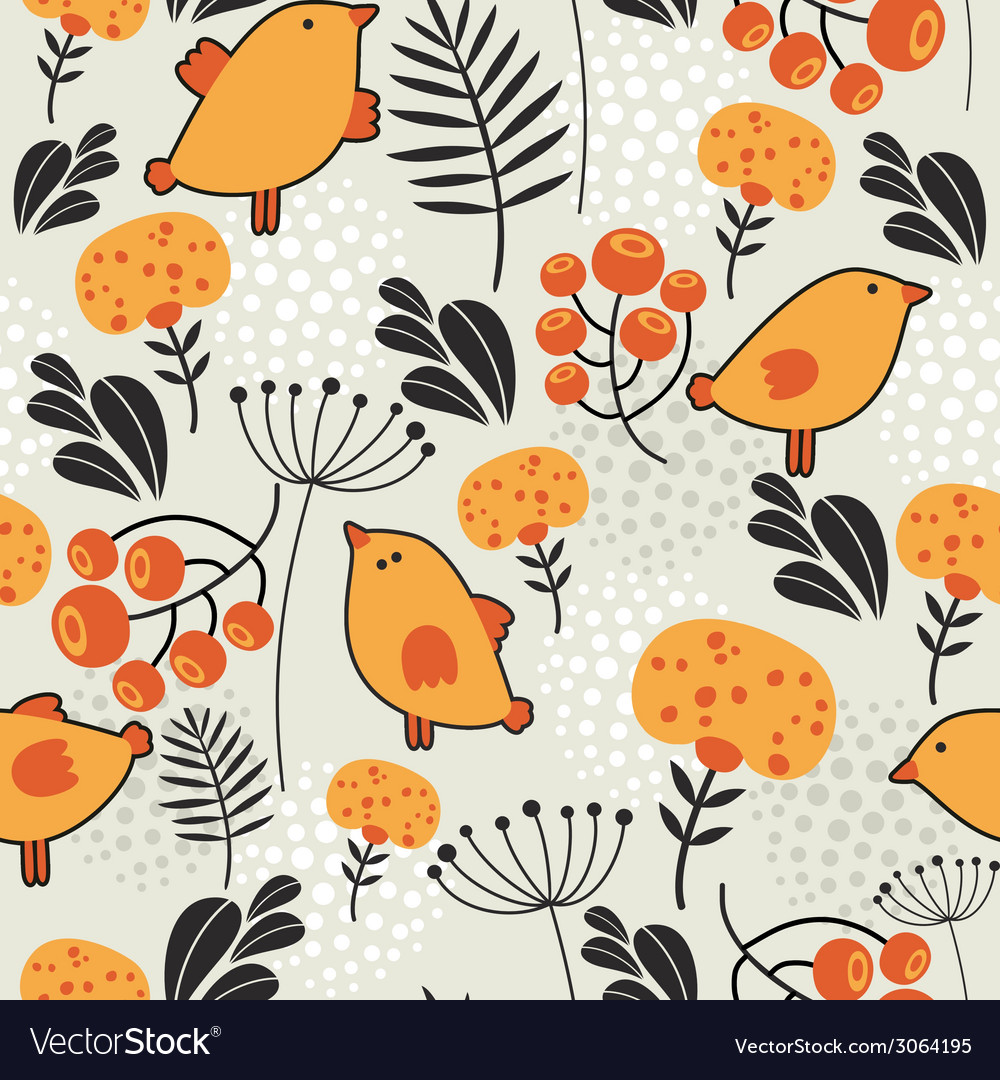 Seamless pattern with orange birds vector | Price: 1 Credit (USD $1)