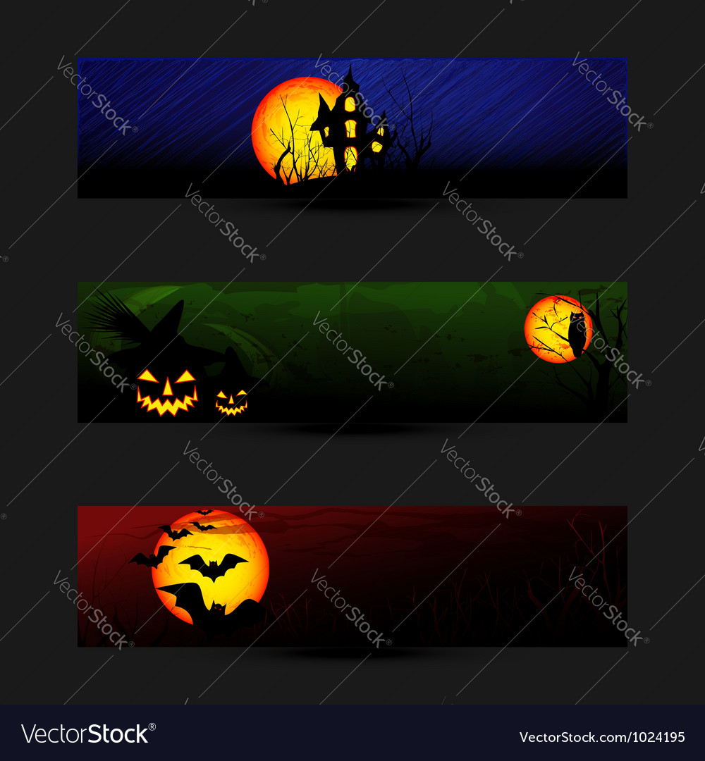 Set of colorful halloween banner vector | Price: 1 Credit (USD $1)