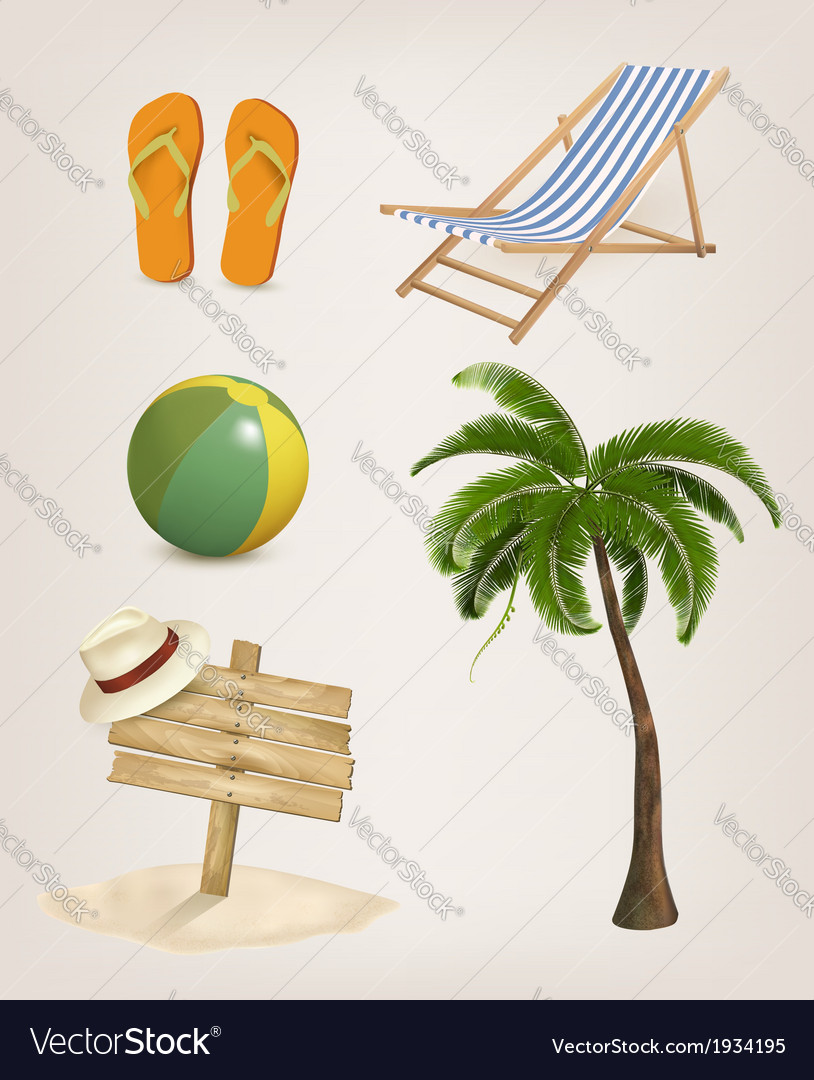 Set of vacation related icons vector | Price: 1 Credit (USD $1)