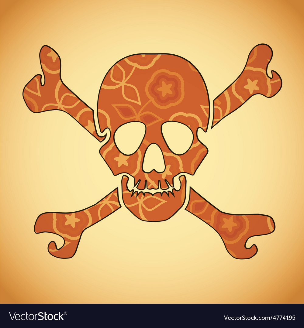 Skull with colorful flowers vector | Price: 1 Credit (USD $1)