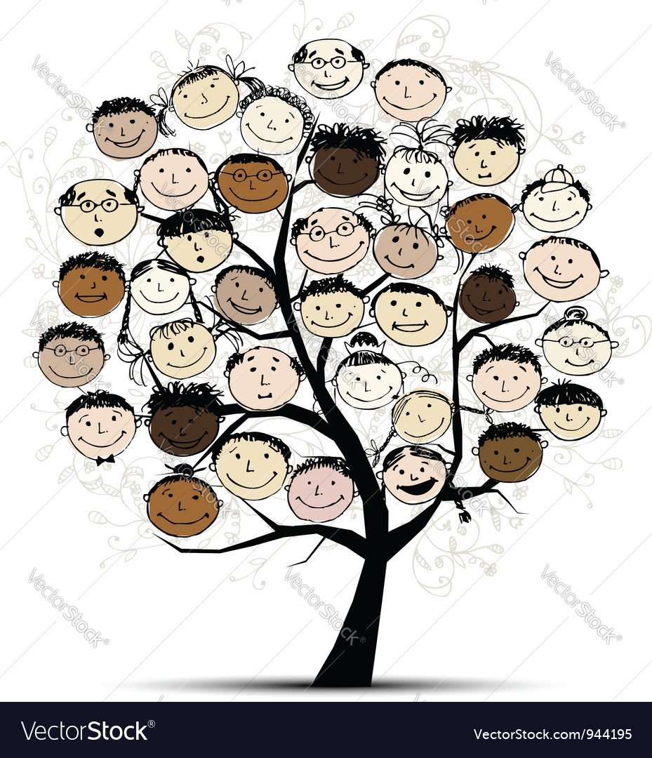 Tree with people faces for your design vector | Price: 1 Credit (USD $1)
