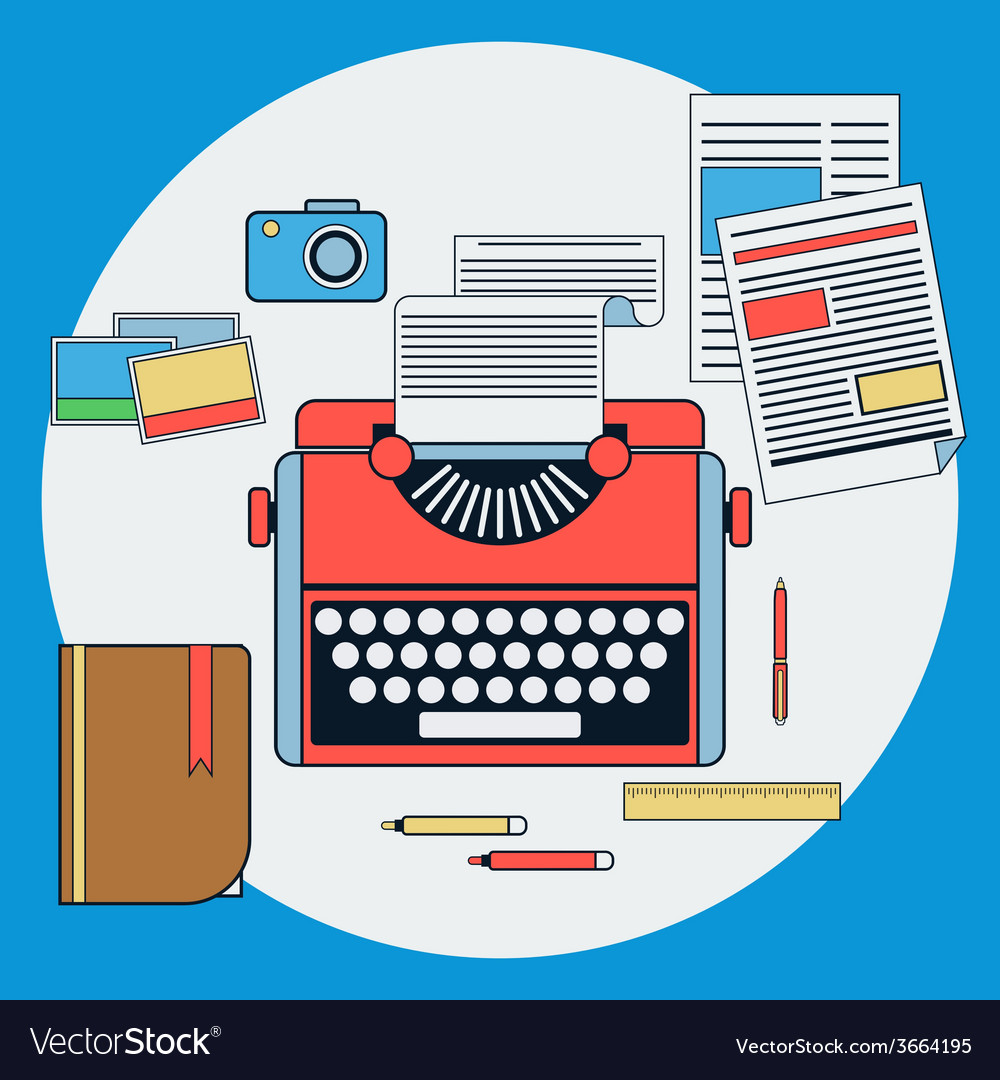 Workplace with retro typewriter vector | Price: 1 Credit (USD $1)