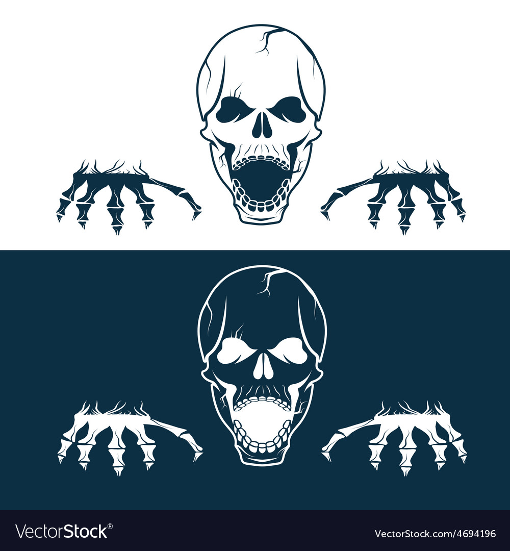 Angry skull with hands vector | Price: 1 Credit (USD $1)