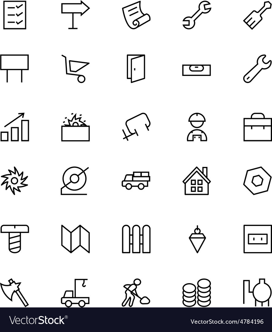 Construction line icons 4 vector | Price: 1 Credit (USD $1)