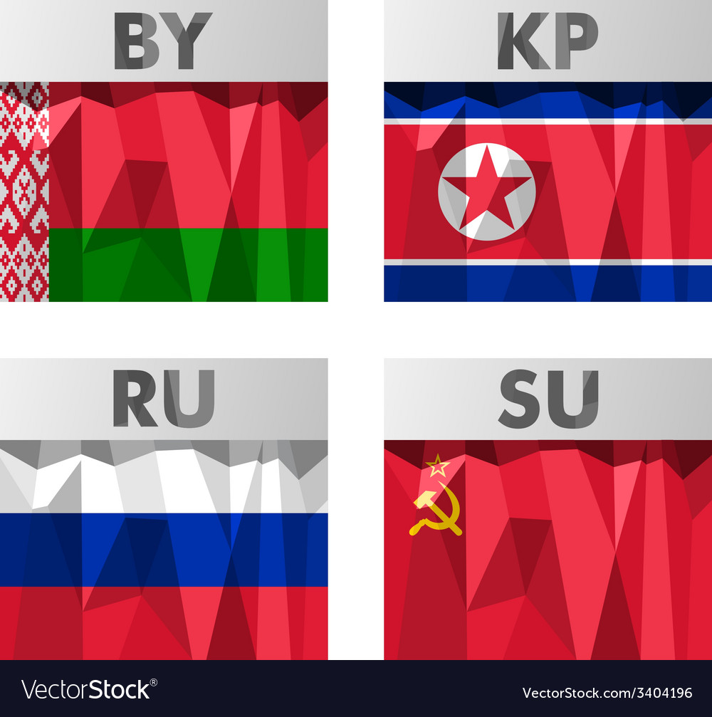 Flags in polygonal style vector | Price: 1 Credit (USD $1)