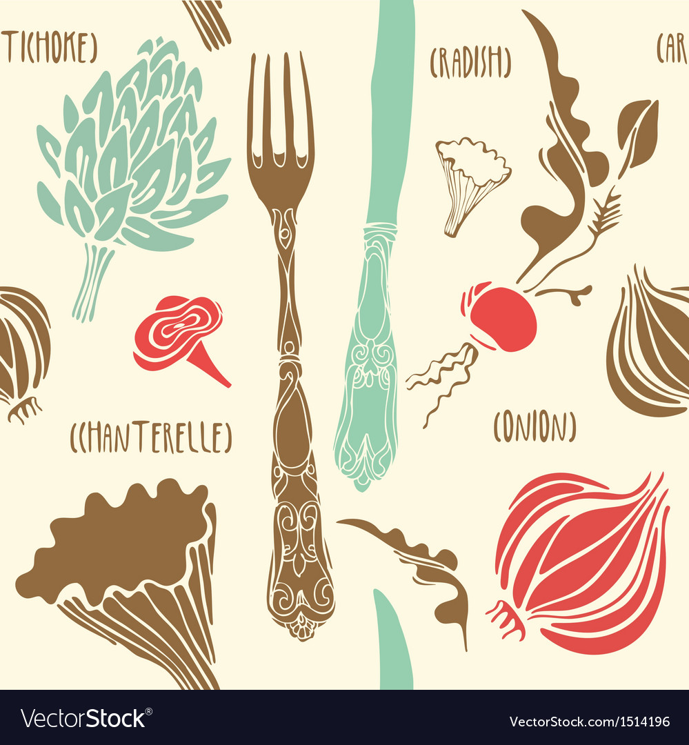 Food seamless doodles vector | Price: 1 Credit (USD $1)