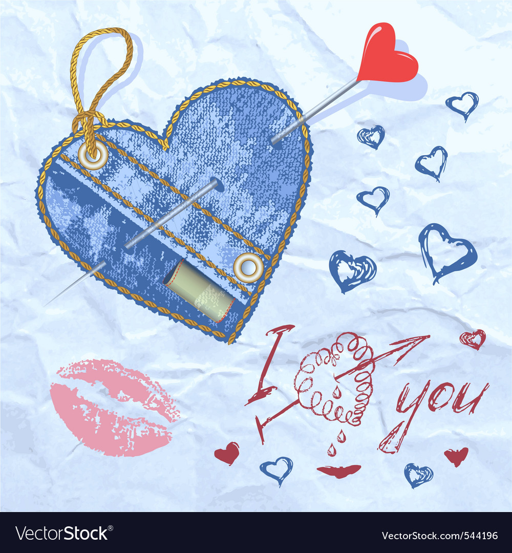 Heart shaped denim patch vector | Price: 1 Credit (USD $1)