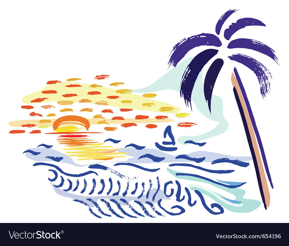 Palm sunset and sea vector | Price: 1 Credit (USD $1)