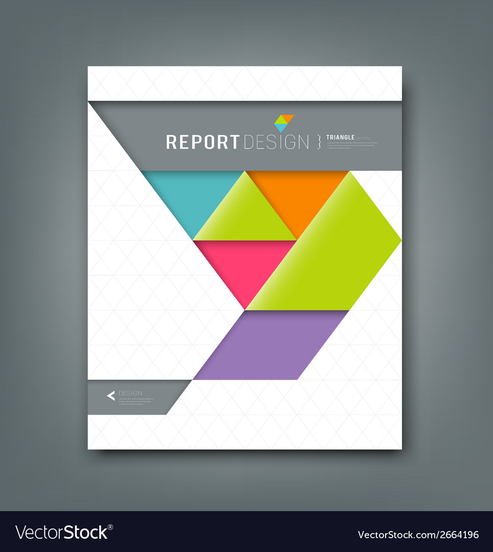 Report design colorful origami paper triangle vector | Price: 1 Credit (USD $1)