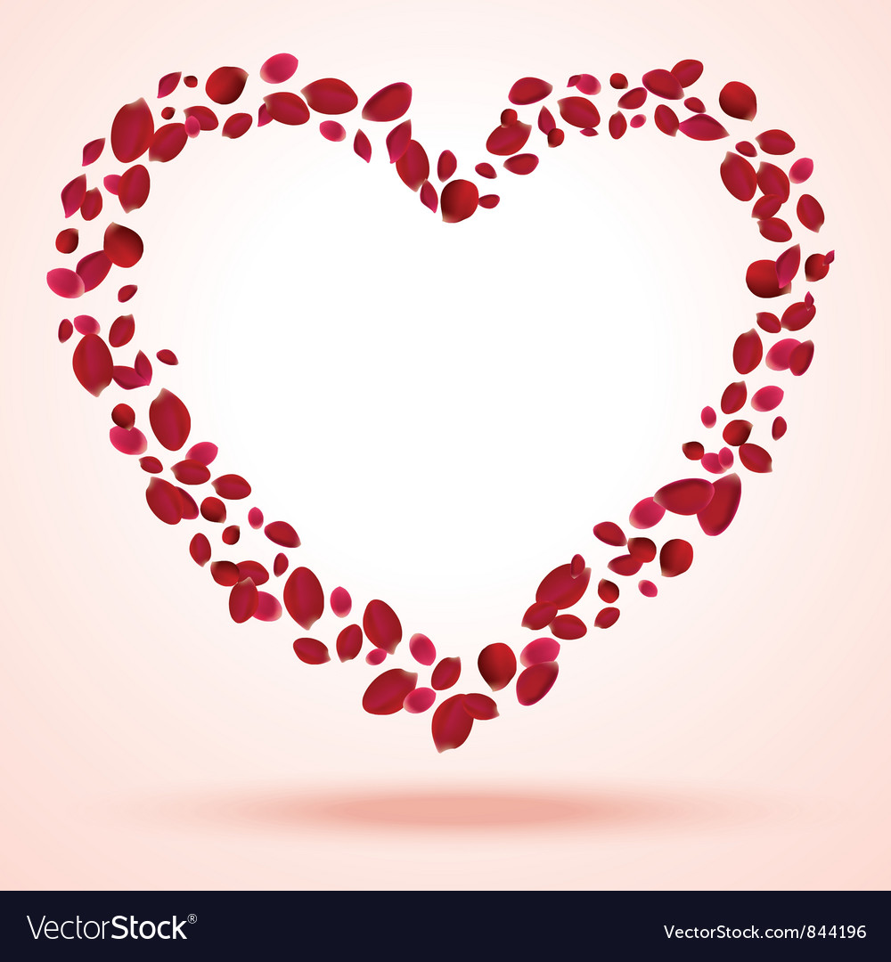Rose petals heart vector | Price: 1 Credit (USD $1)