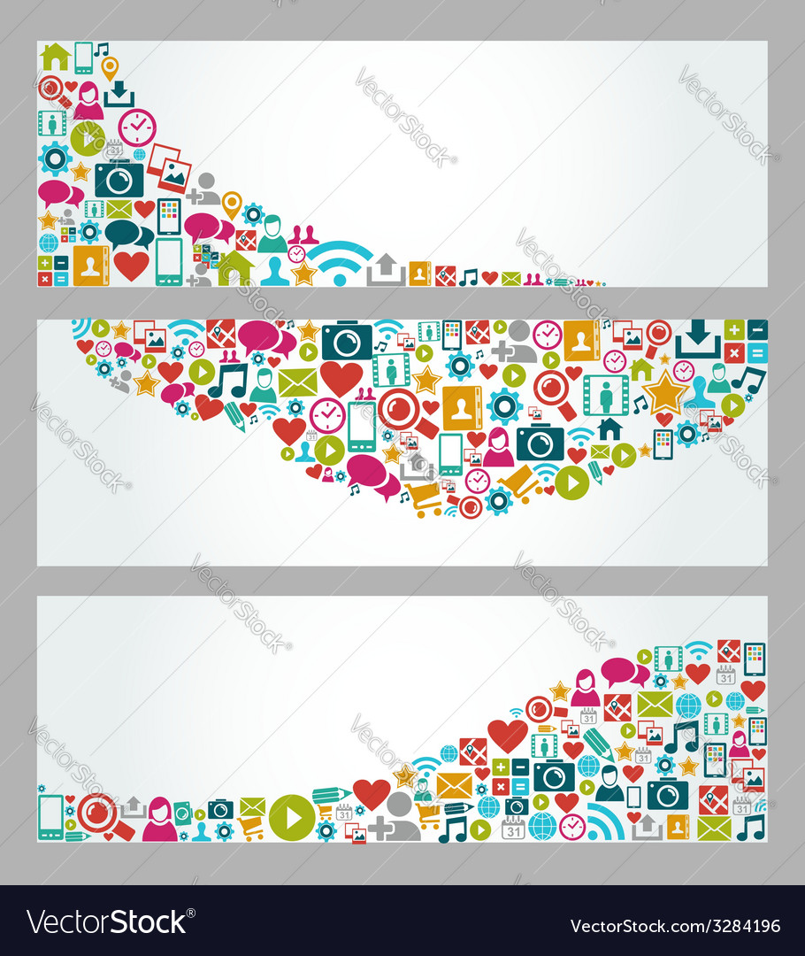 Social media icons web banner set vector | Price: 1 Credit (USD $1)