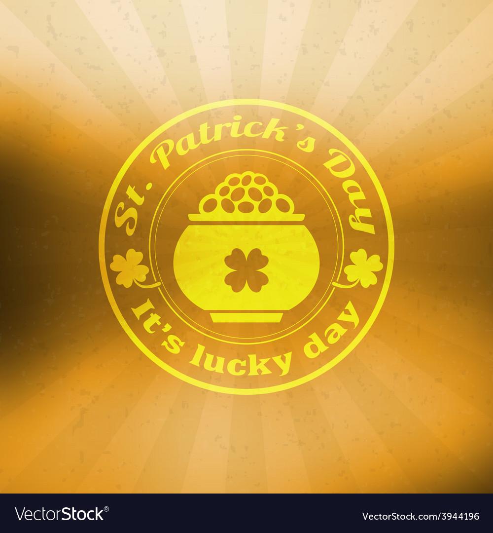 St patricks day vintage holiday badge design vector | Price: 1 Credit (USD $1)