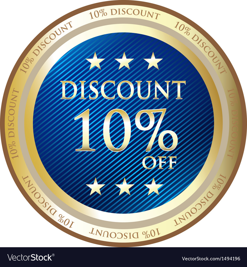 Ten percent discount blue medal vector | Price: 1 Credit (USD $1)