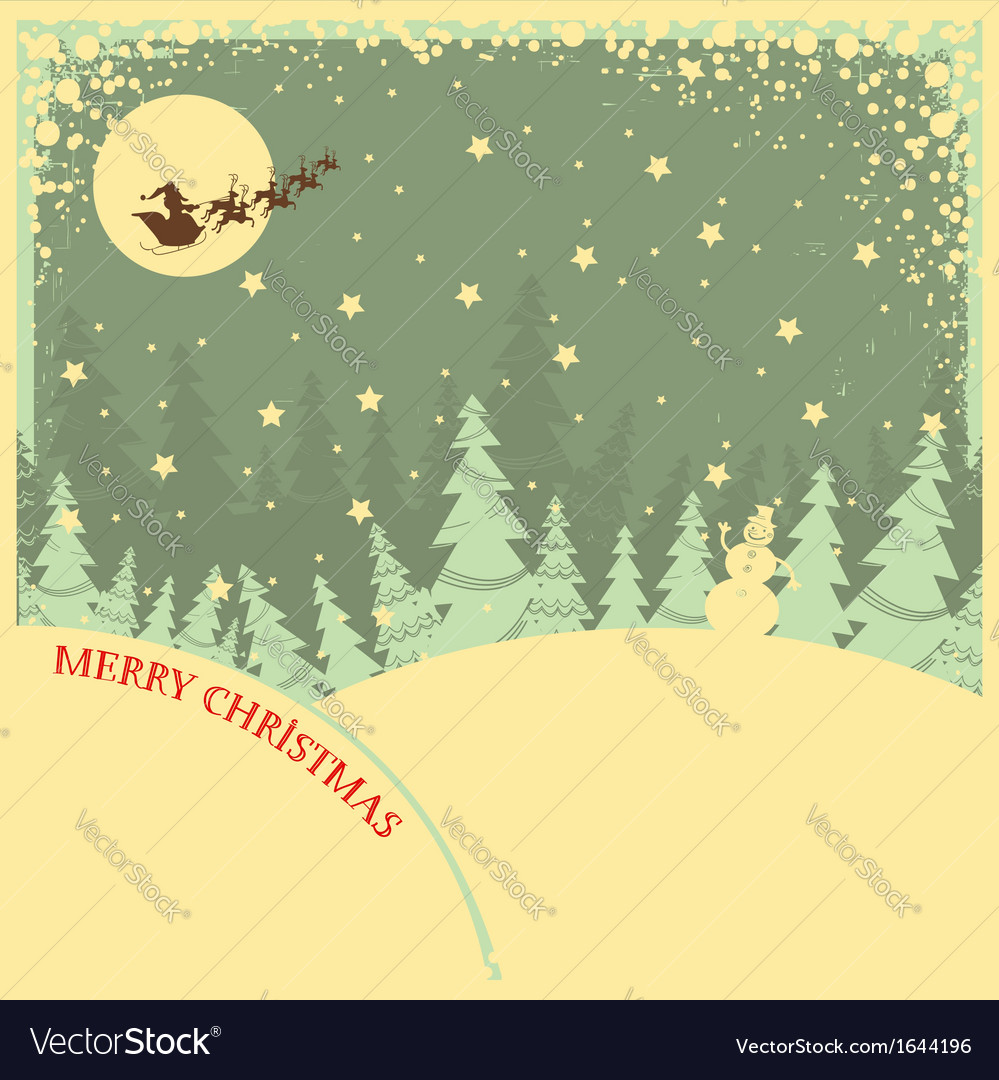 Vintage christmas background with text on night vector | Price: 1 Credit (USD $1)