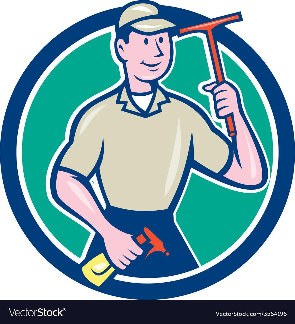 Window washer cleaner squeegee cartoon vector | Price: 1 Credit (USD $1)