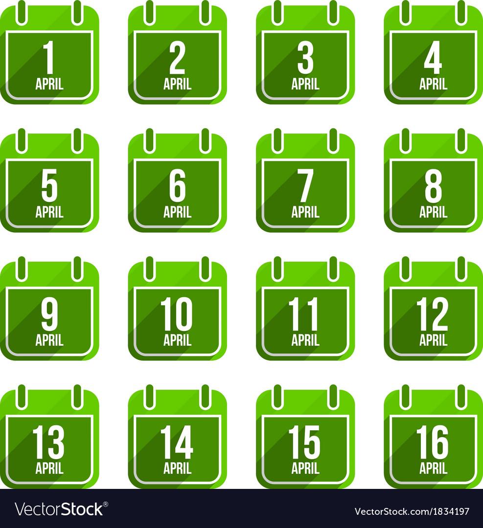 April flat calendar icons days of year set 13 vector | Price: 1 Credit (USD $1)