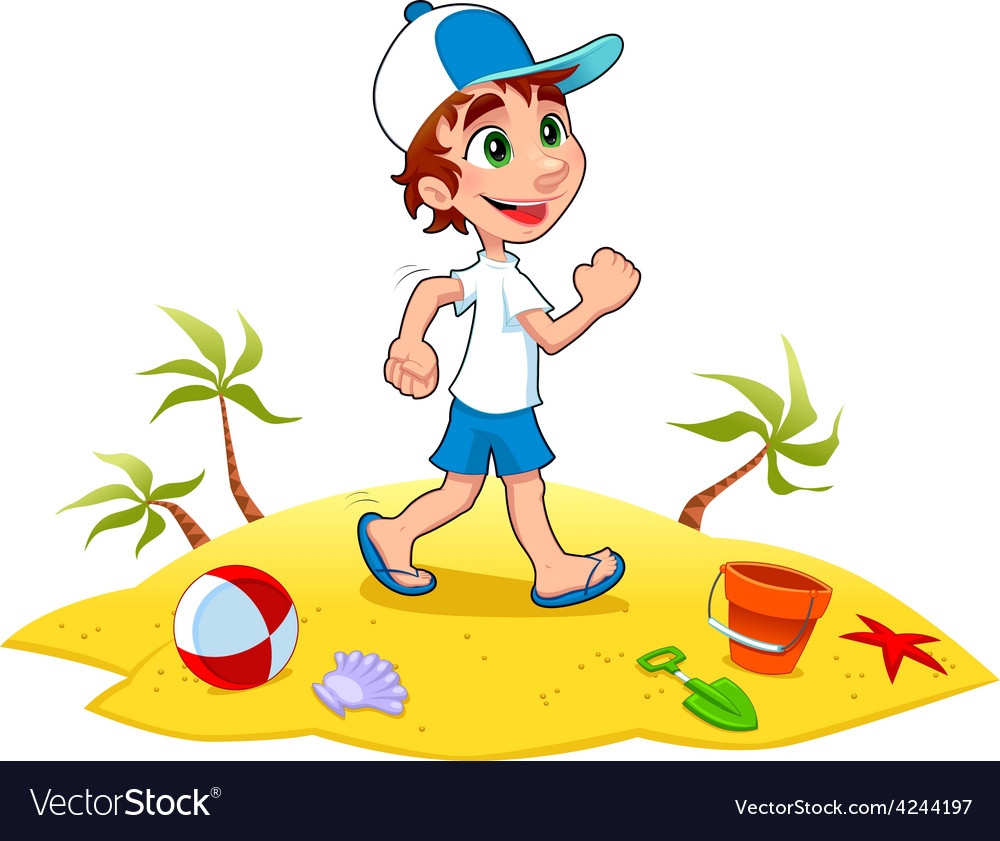 Boy is walking on the sand vector | Price: 1 Credit (USD $1)