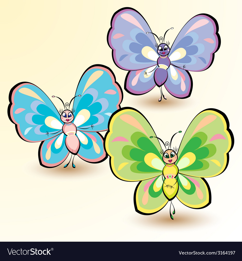 Butterflies isolated on white background vector | Price: 1 Credit (USD $1)