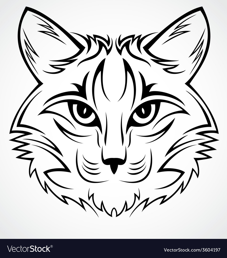 Cat face tribal vector | Price: 1 Credit (USD $1)