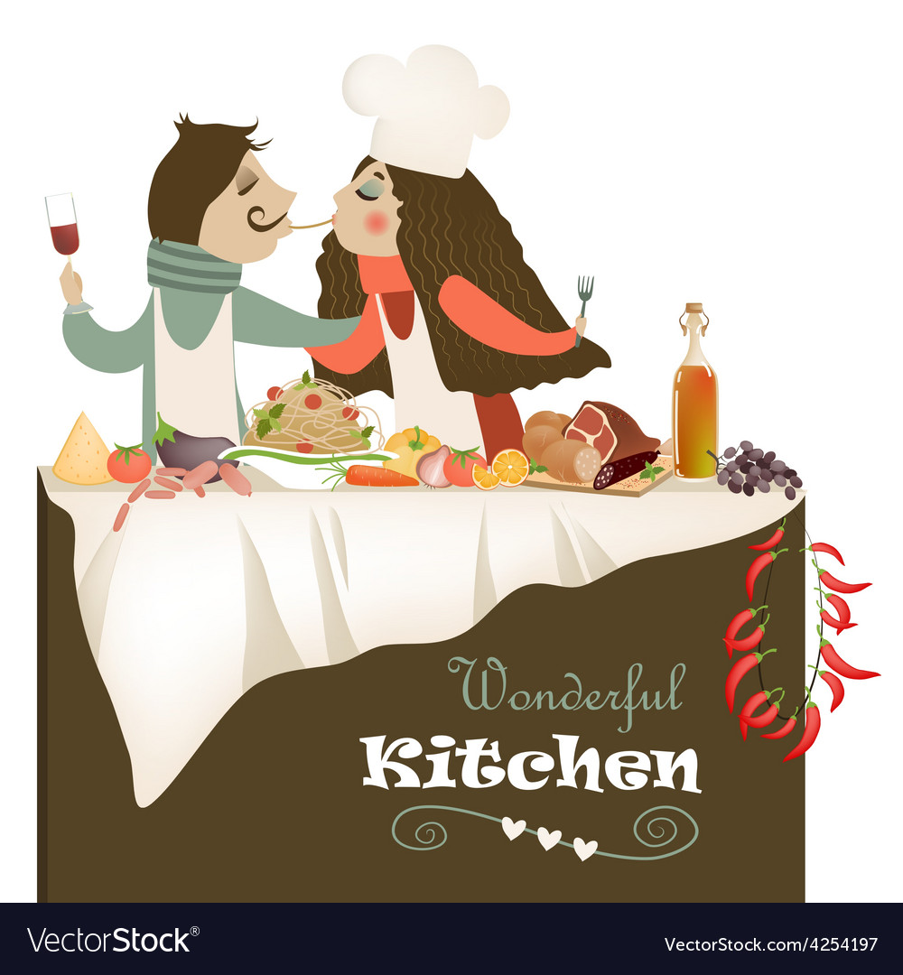 Couple cooking meal vector | Price: 3 Credit (USD $3)