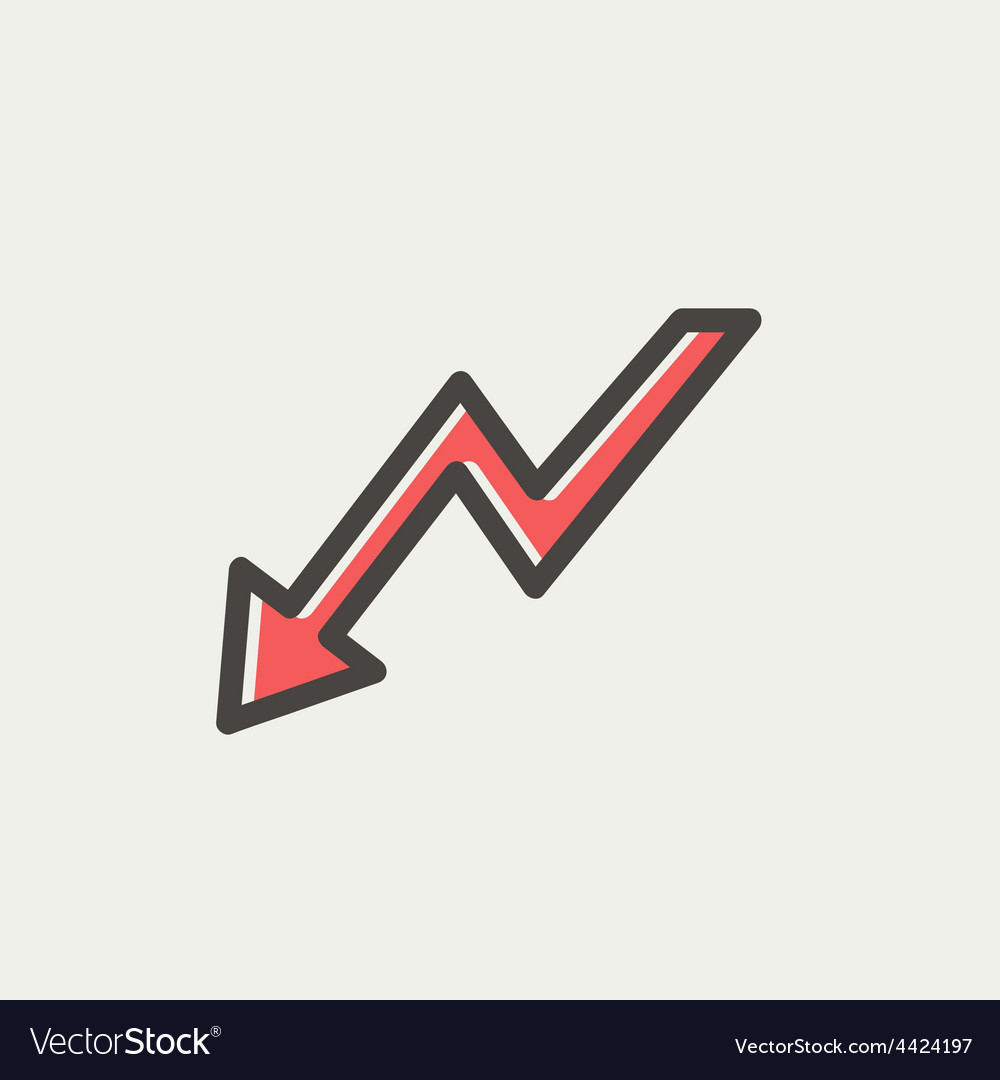 Lightning arrow downward thin line icon vector | Price: 1 Credit (USD $1)